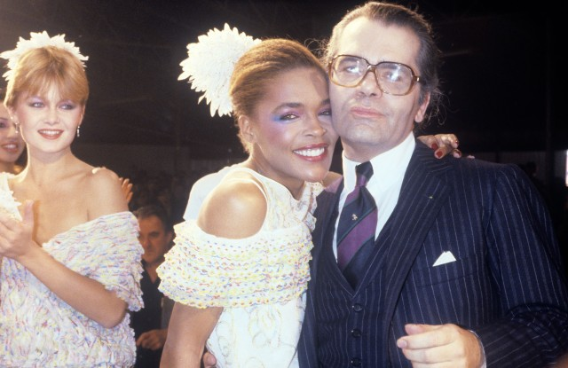 Karl Lagerfeld during the finale of his Chloe Spring RTW 1981 collection.