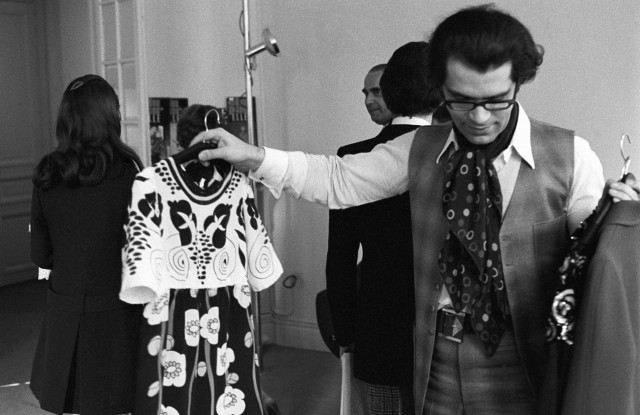 Karl Lagerfeld showing his fall 1969 collection for Chloé.