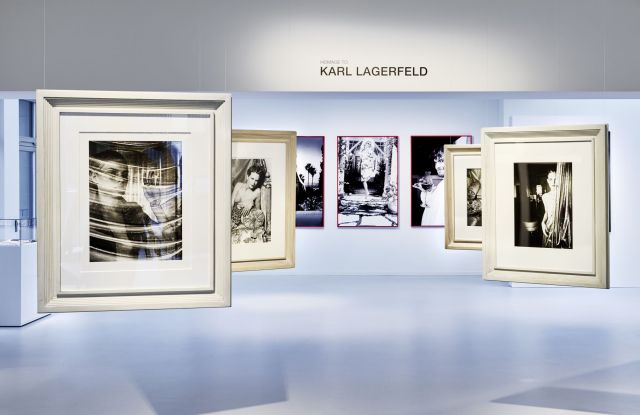 A view of the Karl Lagerfeld photography retrospective at the Galerie Gmurzynska.
