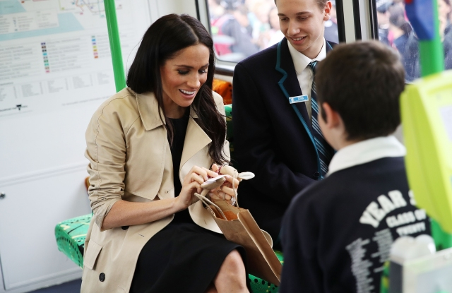 Meghan Duchess of Sussex talks to students from Albert Park Primary School, Port Melbourne Primary School and Elwood Secondary College while riding on a Melbourne TramPrince Harry and Meghan Duchess of Sussex tour of Australia - 18 Oct 2018
