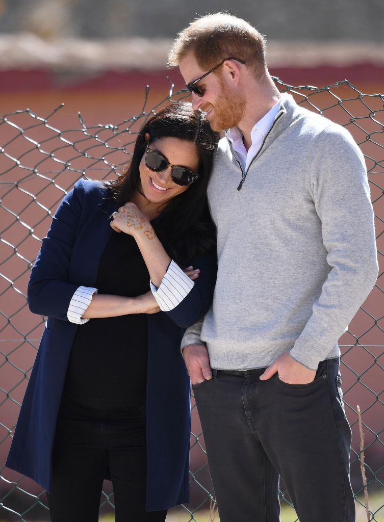 Meghan Duchess of Sussex in Alice + Olivia, with Prince Harry in Asni Town