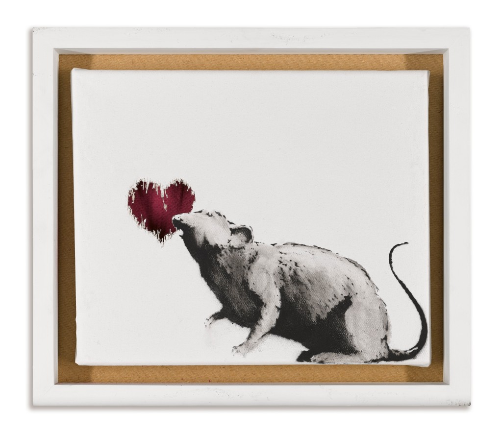 """A painting from Banksy, part of the """"""""A Visual Protest. The Art Of Banksy"""" exhibition at Mudec museum in Milan."""