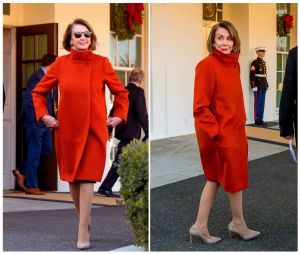 This combination photo shows House Minority Leader Nancy Pelosi wearing a red Max Mara coat outside of the West Wing at the White House in Washington following a meeting with President Donald Trump about funding the border wall between the U.S. and MexicoYE Pop Culture Moments, Washington, USA - 17 Dec 2018
