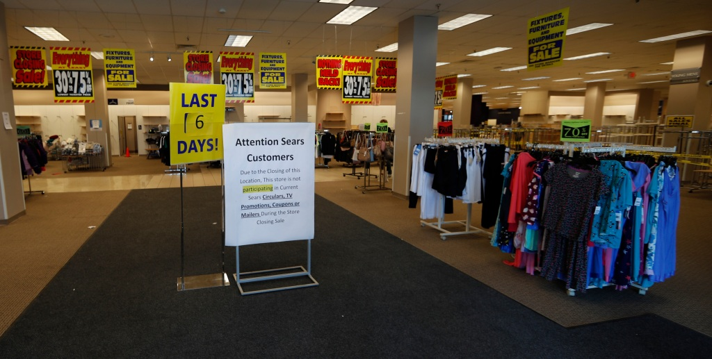 Sears store Streets of Southglenn, r m. Graph, signs mark the closing of a Sears store in the Streets of Southglenn mall in Littleton, ColoSears - 31 Dec 2018