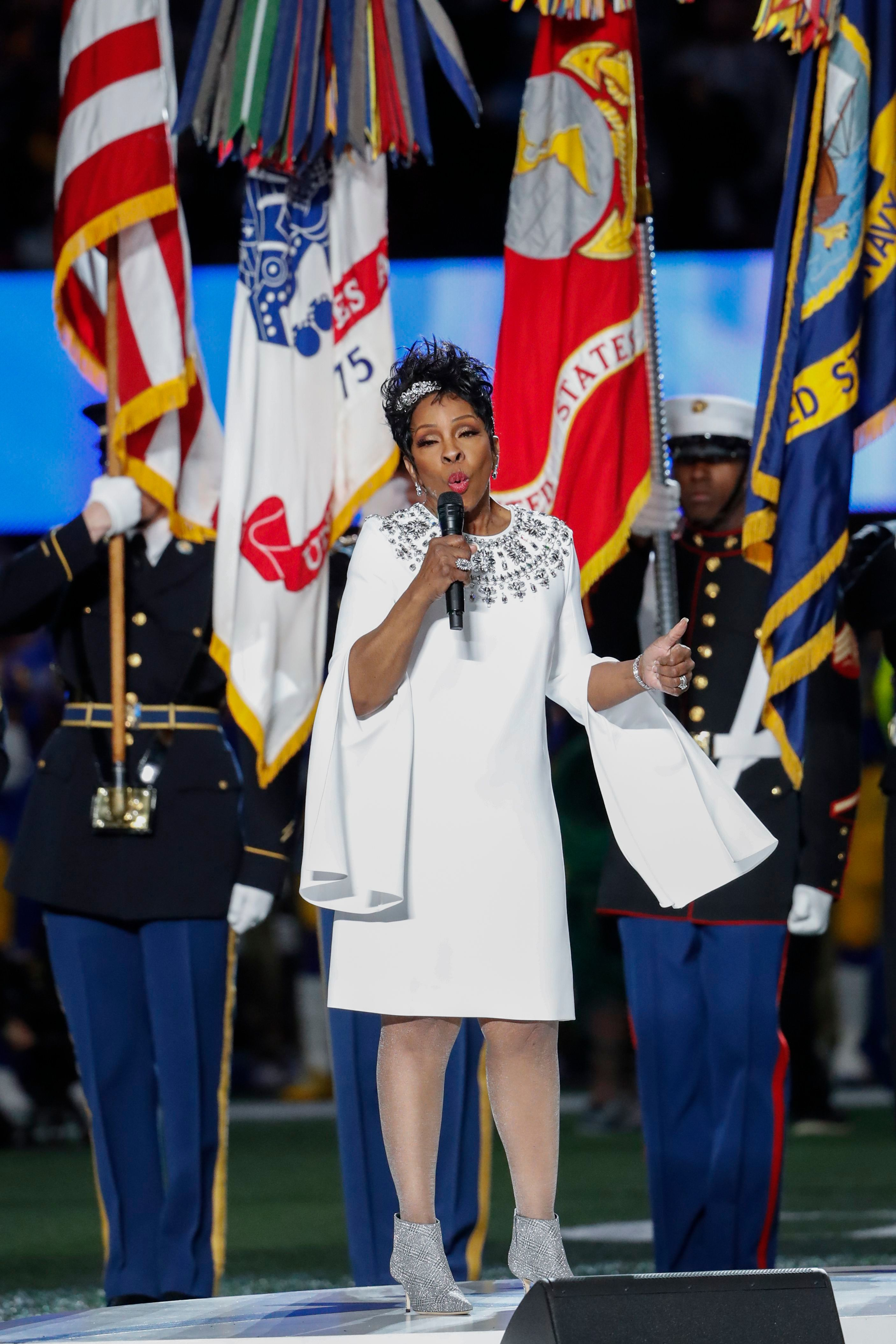 Gladys Knight sings 'The Star-Spangled Banner' on the field prior to Super Bowl LIII between the New England Patriots and the Los Angeles Rams at Mercedes-Benz Stadium in Atlanta, Georgia, USA, 03 February 2019.Super Bowl LIII, Atlanta, USA - 03 Feb 2019
