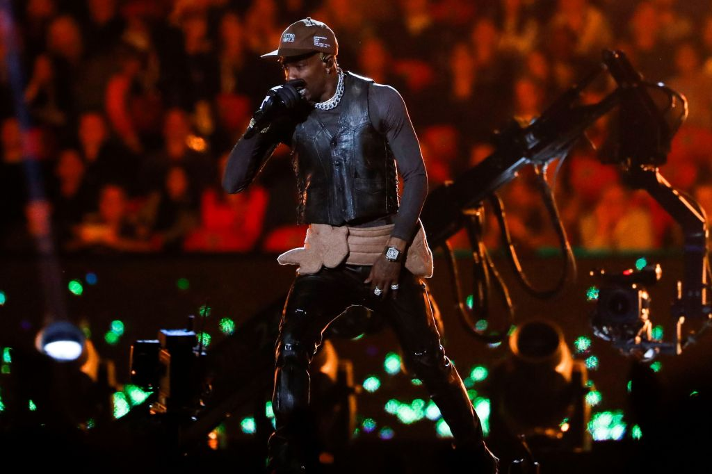 Rapper Travis Scott performs during the half time show of Super Bowl LIII between the New England Patriots and the Los Angeles Rams at Mercedes-Benz Stadium in Atlanta, Georgia, USA, 03 February 2019.Super Bowl LIII, Atlanta, USA - 03 Feb 2019