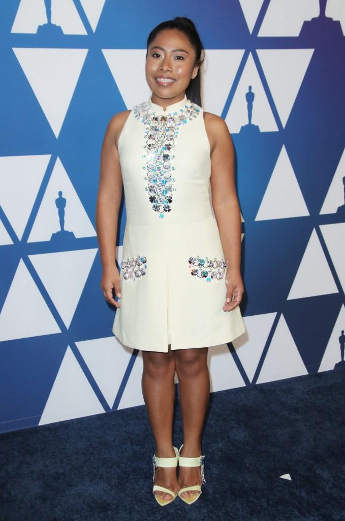 Yalitza AparicioThe Academy Awards Nominees Luncheon, Los Angeles, USA - 04 Feb 2019Wearing Prada, Shoes by Chloe Gosselin
