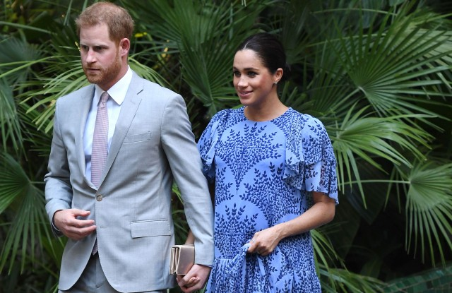 Prince Harry and Meghan Duchess of Sussex arrive at King Mohammed VI's Residence