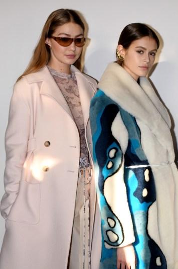 Gigi Hadid, Kaia Gerber and model backstageLanvin show, Backstage, Fall Winter 2019, Paris Fashion Week, France - 27 Feb 2019