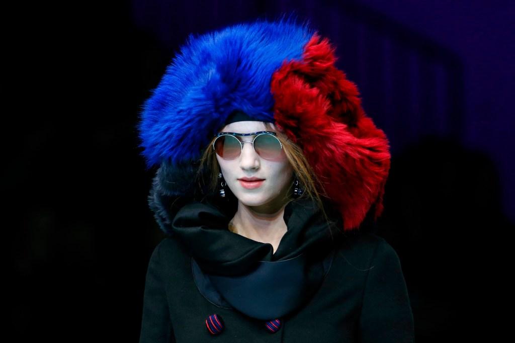 Model on the catwalk, hat detailGiorgio Armani show, Detail, Fall Winter 2018, Milan Fashion Week, Italy - 24 Feb 2018