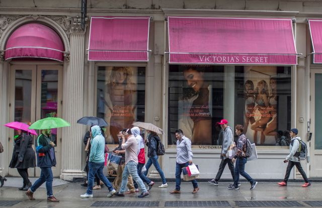 Shoppers walk past the Victoria's Secret store on Broadway in the Soho neighborhood of New YorkEconomy, New York, USA - 04 Apr 2018