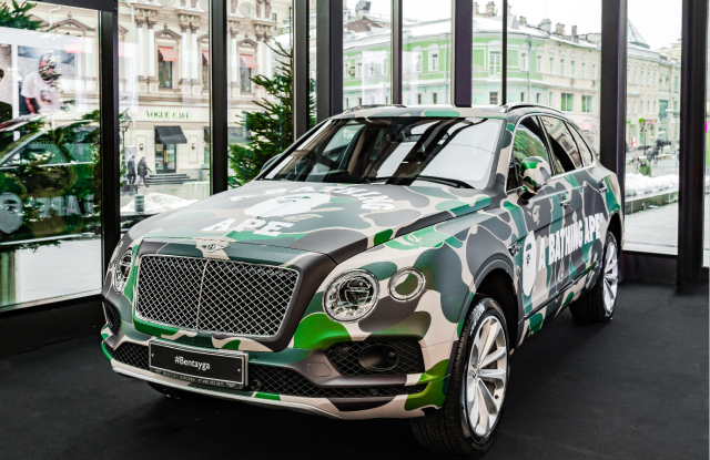 This Bentley Bentayga with A Bathing Ape branding is parked on the main floor of Tsum.