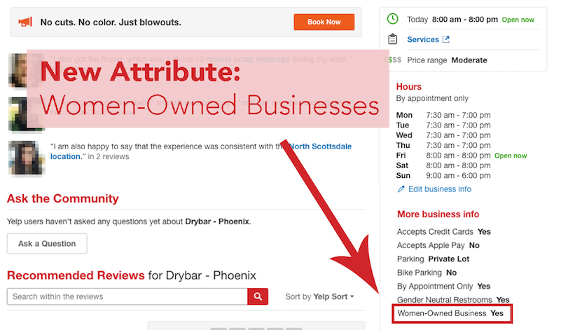 The new Yelp feature helps identify women-owned business.