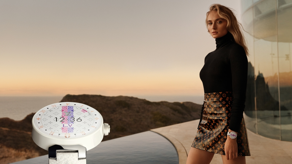 Sophie Turner in the Louis Vuitton Tambour 2 campaign