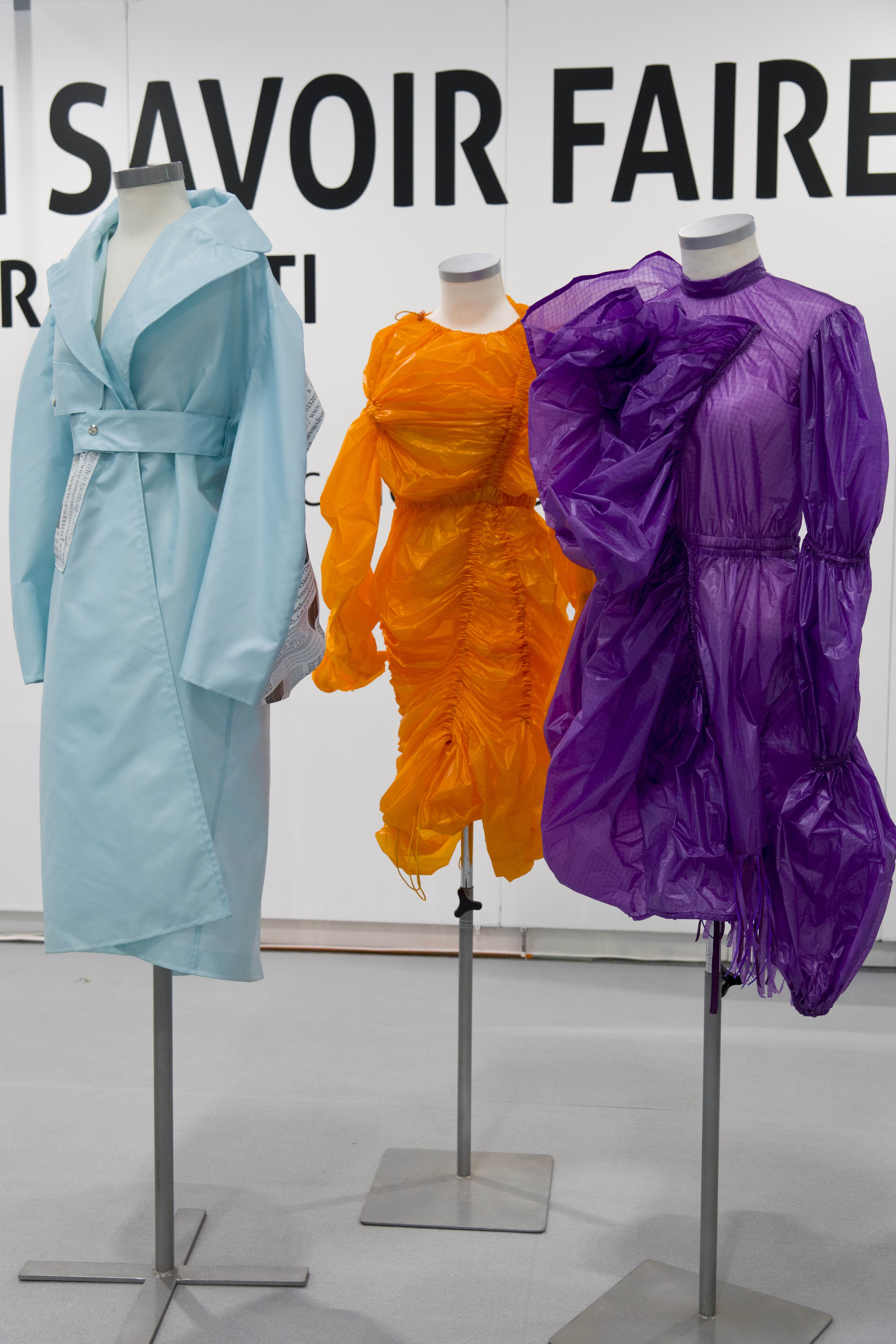 Three dresses made out of old parachutes created by student from Esmod Lyon in partnership with Porcher Industries.