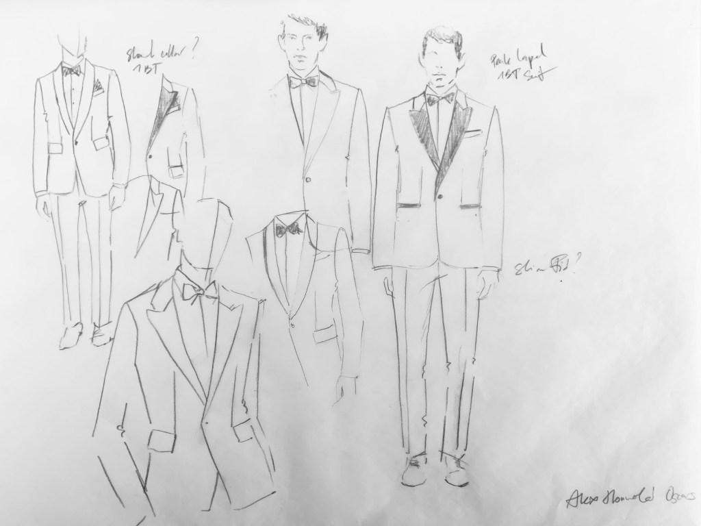 Mona Al-Shaalan's sketches for the tuxedo.
