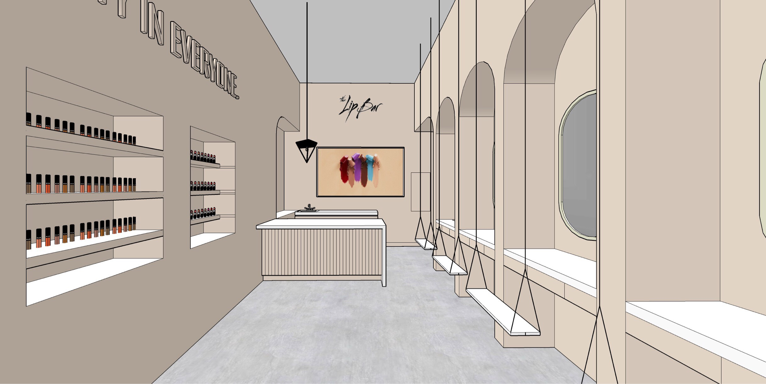 The Lip Bar store rendering.