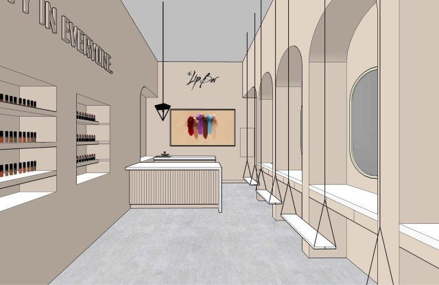 The Lip Bar store rendering.