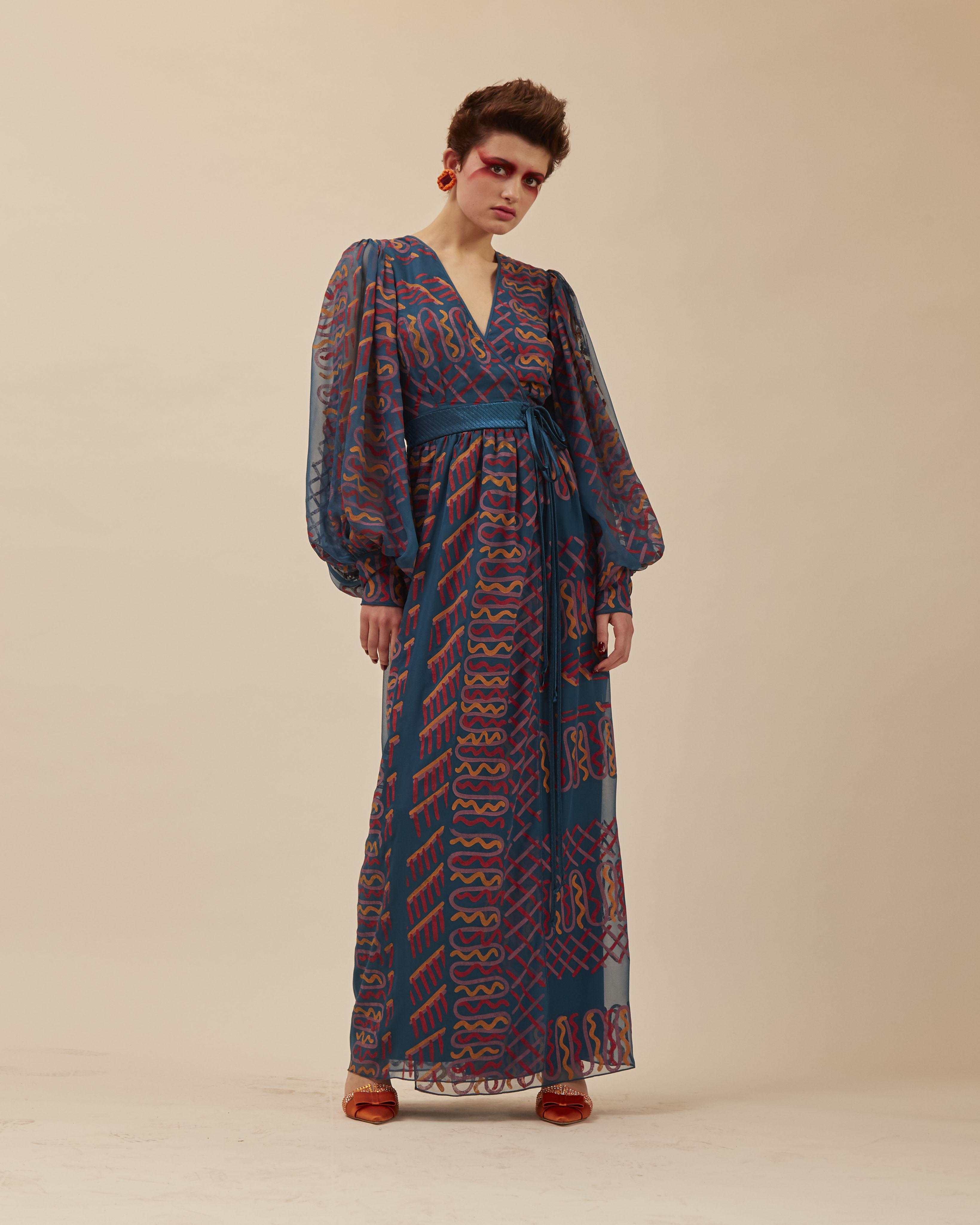 Zandra Rhodes long-sleeved maxi dress, Fall 2019