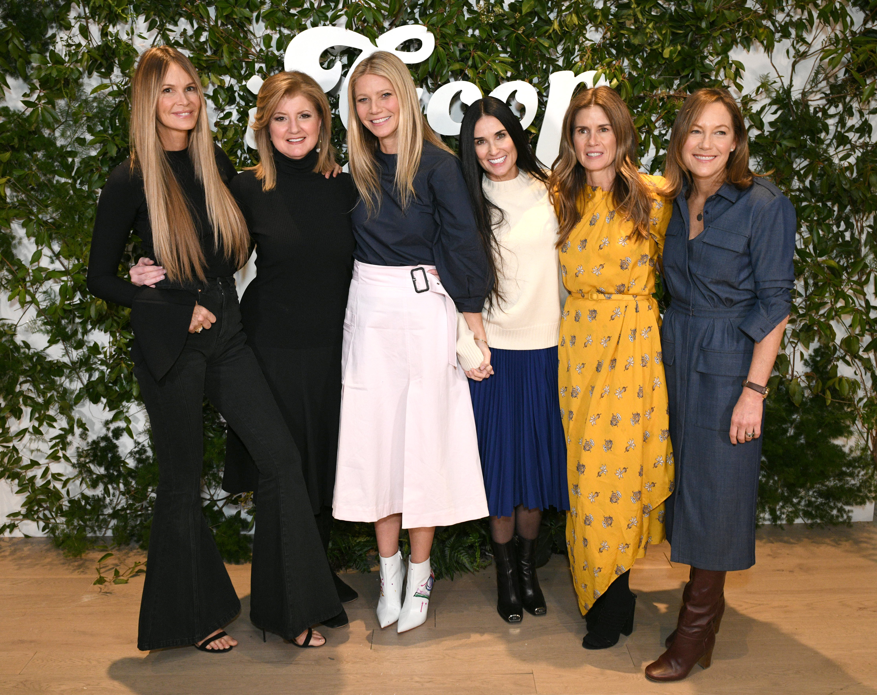NEW YORK, NEW YORK - MARCH 09: (L-R) Elle Macpherson, Arianna Huffington, Gwyneth Paltrow, Demi Moore, Gucci Westman and Gregg Renfrew attend the In goop Health Summit New York 2019 at Seaport District NYC on March 09, 2019 in New York City. (Photo by Bryan Bedder/Getty Images for goop)