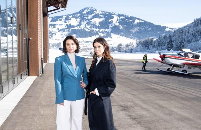 Antonia Crespi and Tatiana de Pahlen at Gstaad Airport