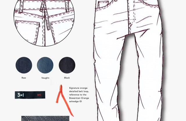 A sketch of the 3x1 x Nike jeans.