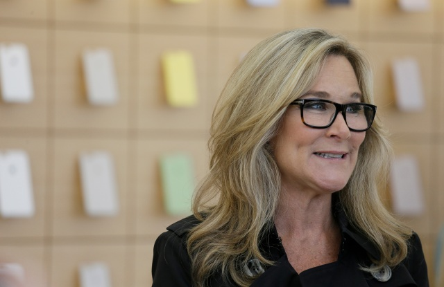 Angela Ahrendts Angela Ahrendts, Apple's senior vice president of Retail and Online Stores, speaks with reporters during a preview of the new Apple Union Square store, in San FranciscoApple Rethinking Retail, San Francisco, USA