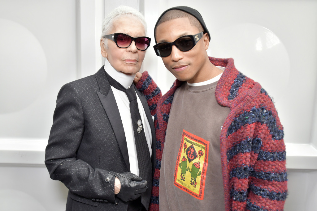 Karl Lagerfeld and Pharrell Williams backstageChanel show, Fall 2017
