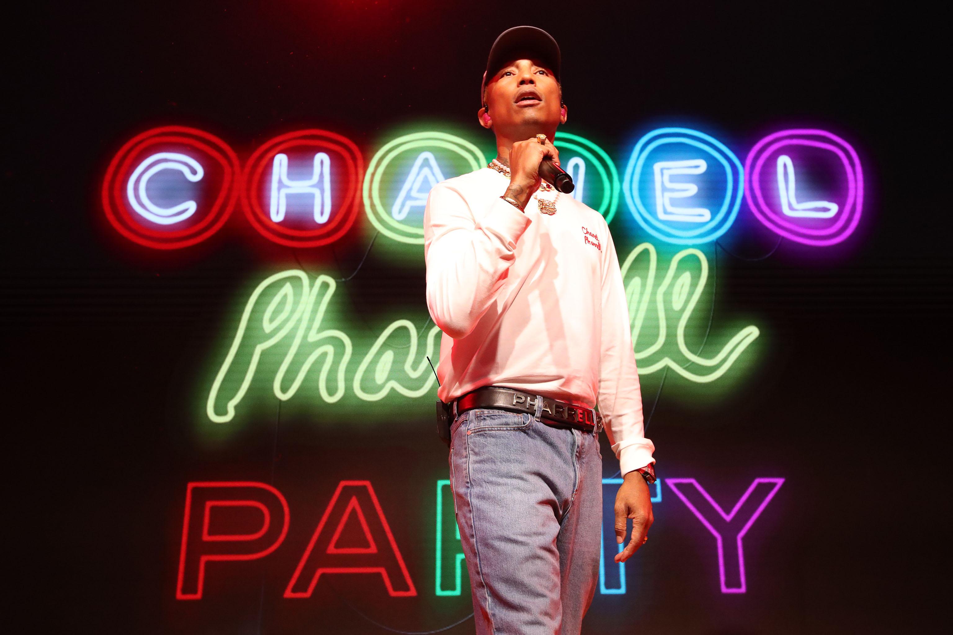Pharrell Williams performing.