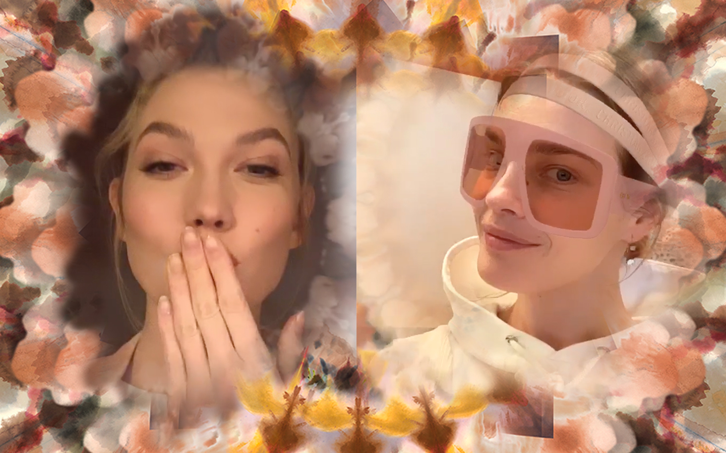 Karlie Kloss and Natalia Vodianova try out Dior's AR filter on Instagram