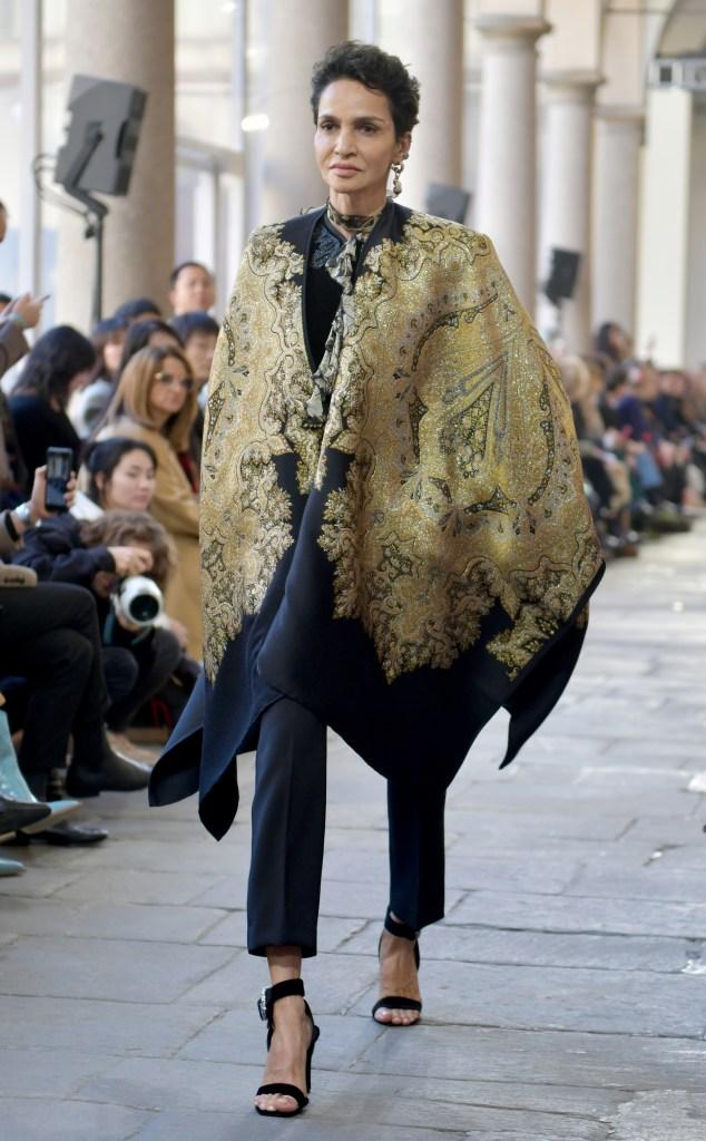 Farida Khelfa on the catwalk