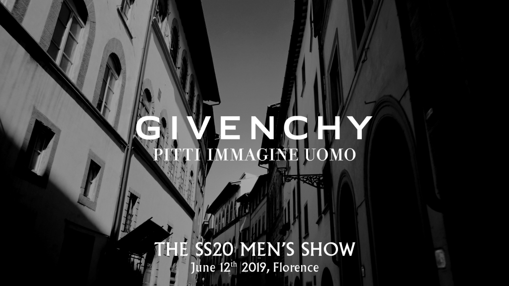 The visual for the Givenchy show at Pitti Uomo.