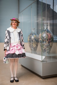 Grayson Perry attends a special unveiling of his Matching Pair vases, which go on display today in the V&A's world-famous Ceramics Galleries.Monumental in size, both the 'Leave' and 'Remain' vase stand at over a metre-tall and are decorated with sgraffito figures and transfer-printed images. They were created in 2017 in response to the huge social and political rift caused by Brexit. Perry took a new approach to the creative process of decorating the vases by crowdsourcing ideas, photographs and phrases about Britishness and Brexit via social media. The similarity of the Leave and Remain vases prompted their title, Matching Pair.