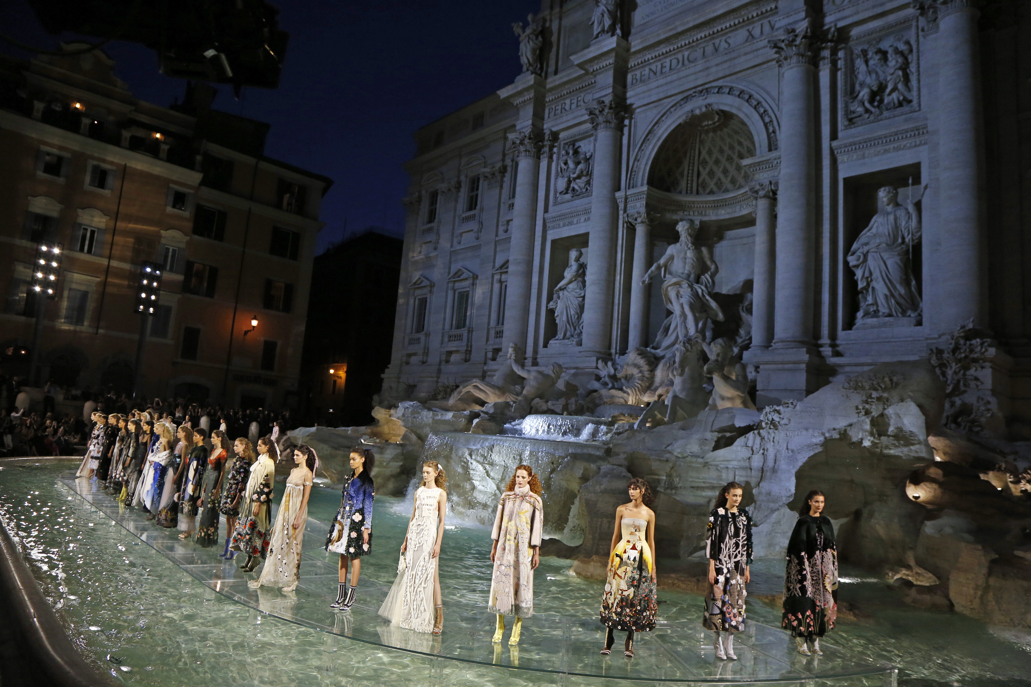 Fendi 90th anniversary runway show athe the Trevi Fountian in Rome.