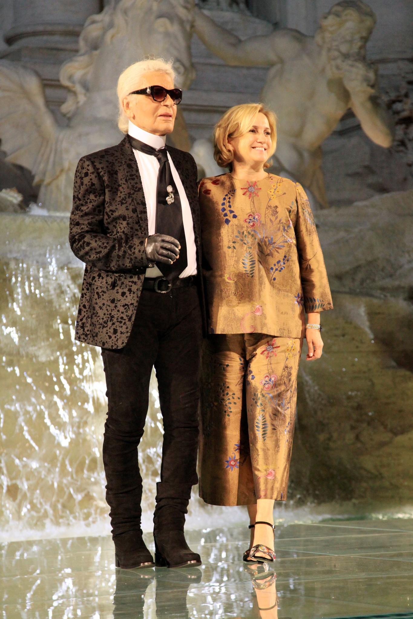 Karl Lagerfeld and Silvia Venturini Fendi on the catwalk