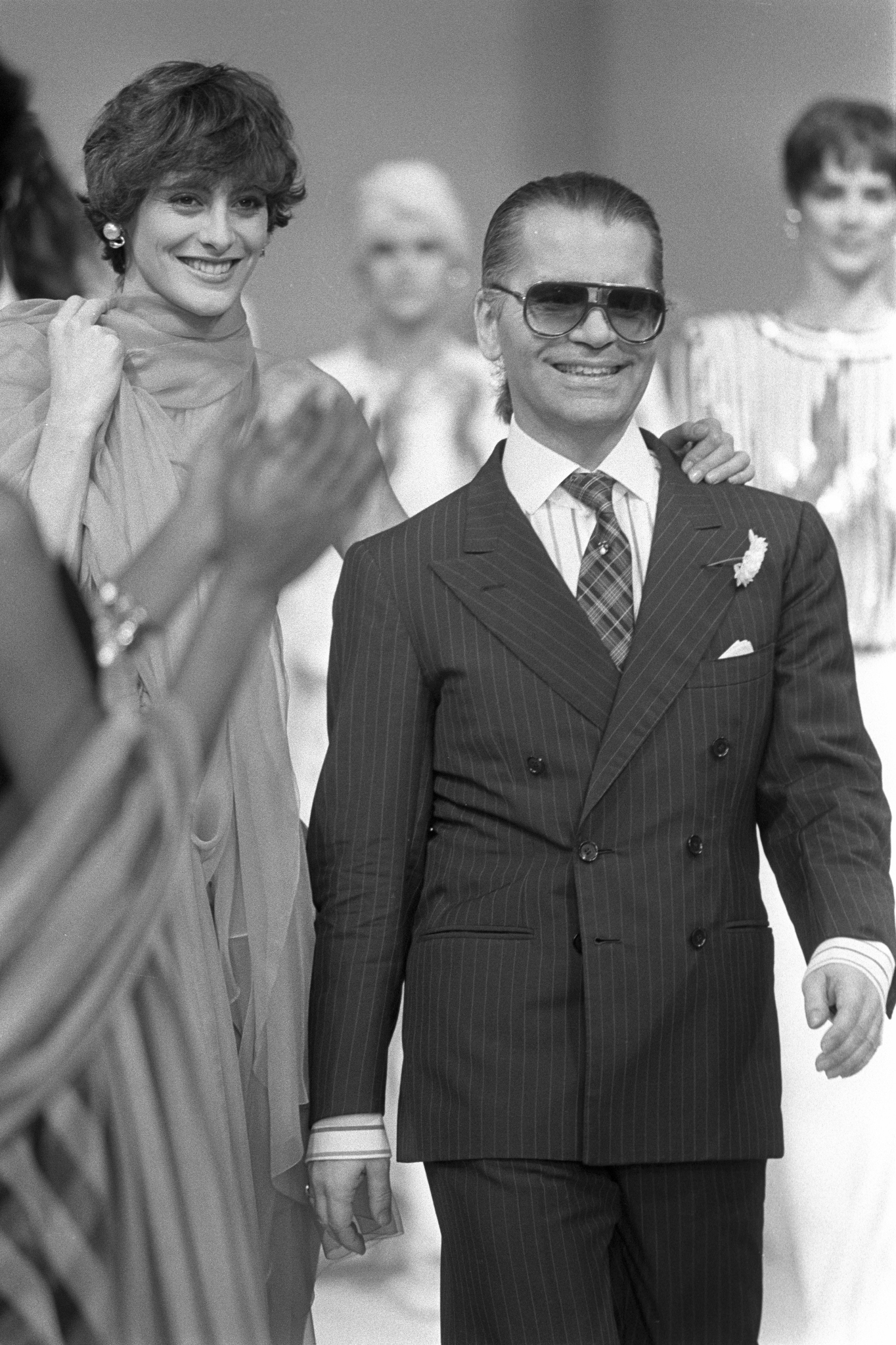 Designer Karl Lagerfeld at the end of his Spring 1985 RTW collection for Chanel