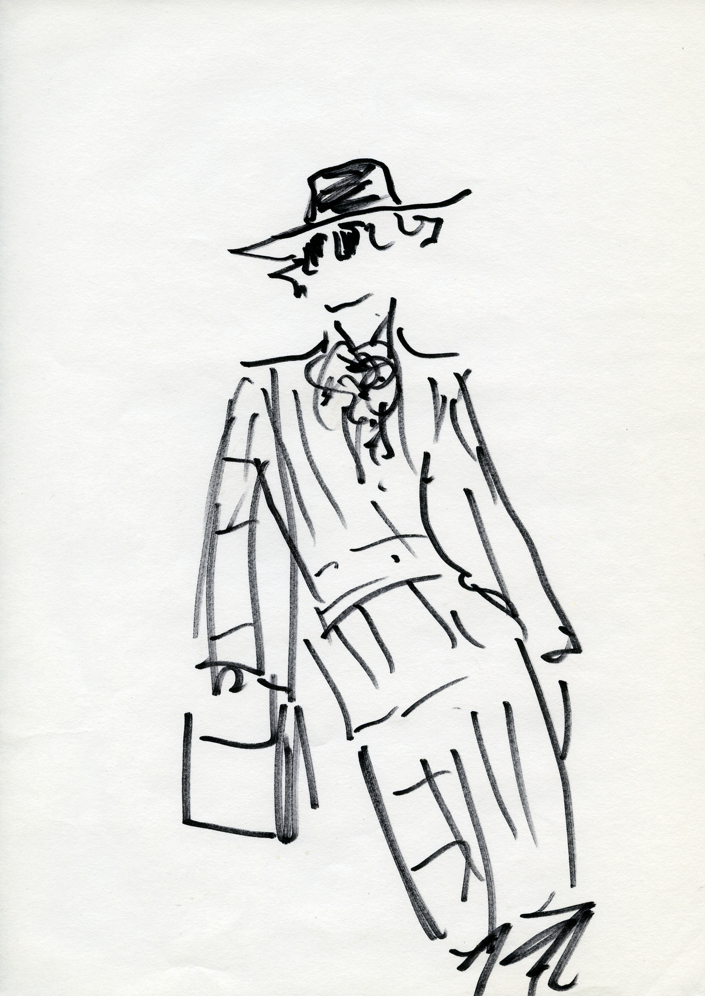 A sketch by Karl Lagerfeld in the outfit he wore on his first day at Fendi in 1965: Cerruti hat, Norfolk jacket in a tweed speckled with red and yellow, culottes, boots and a squarish bag he bought in Milan.