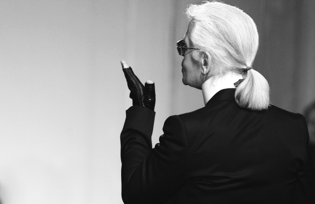 Karl Lagerfeld on the runway after the Chanel Pre-Fall 2006 Show in New York.