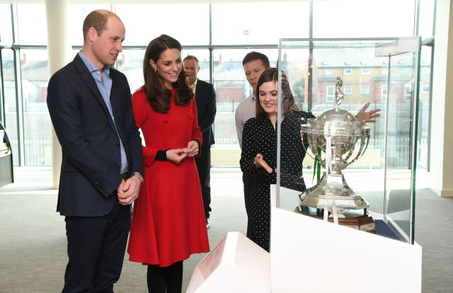 Prince William and Catherine Duchess of Cambridge visit the Irish Football Association, Windsor Park, BelfastPrince William and Catherine Duchess of Cambridge visit to Northern Ireland - 27 Feb 2019 This engagement will see Their Royal Highnesses learn more about the IFA's community Football projects, and how sport can play a role in bringing communities together.