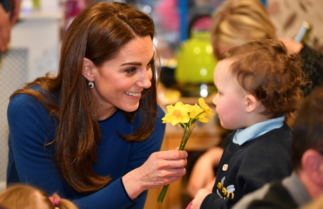 Catherine Duchess of Cambridge receives daffodils during a visit to St Joseph's SureStart Facility in Ballymena, Northern Ireland.Prince William and Catherine Duchess of Cambridge visit to Northern Ireland - 28 Feb 2019 Prince William last visited Belfast in October 2017 without his wife, Catherine Duchess of Cambridge, who was then pregnant with the couple's third child. This time they concentrate on the young people of Northern Ireland. Their engagements include a visit to Windsor Park Stadium, home of the Irish Football Association, activities at the Roscor Youth Village in Fermanagh, a party at the Belfast Empire Hall, Cinemagic -a charity that uses film, television and digital technologies to inspire young people and finally dropping in on a SureStart early years programme.