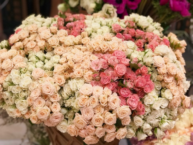 Long-stemmed roses are Lachaume's signature blooms
