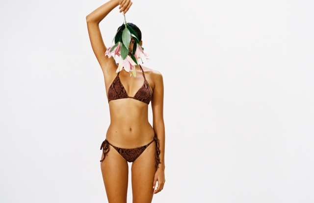 Textured swimwear from Mara Hoffman's latest collection, crafted using Repreve, a polyester fiber made of 100 percent recycled plastic.