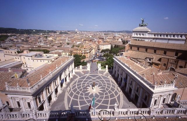 Piazza del Campidoglio dall'alto della Torre Campanaria, inv. Amb 10097
