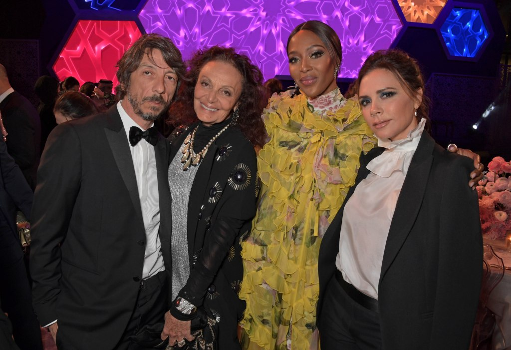 DOHA, QATAR - MARCH 28: (L to R) Pierpaolo Piccioli, Diane von Furstenberg, Naomi Campbell and Victoria Beckham attend the Fashion Trust Arabia Prize awards ceremony on March 28, 2019 in Doha, Qatar. (Photo by David M. Benett/Dave Benett/Getty Images for Fashion Trust Arabia)