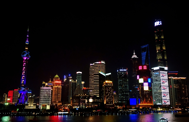 Reebok illuminated the exterior of a building on the Bund with its name.