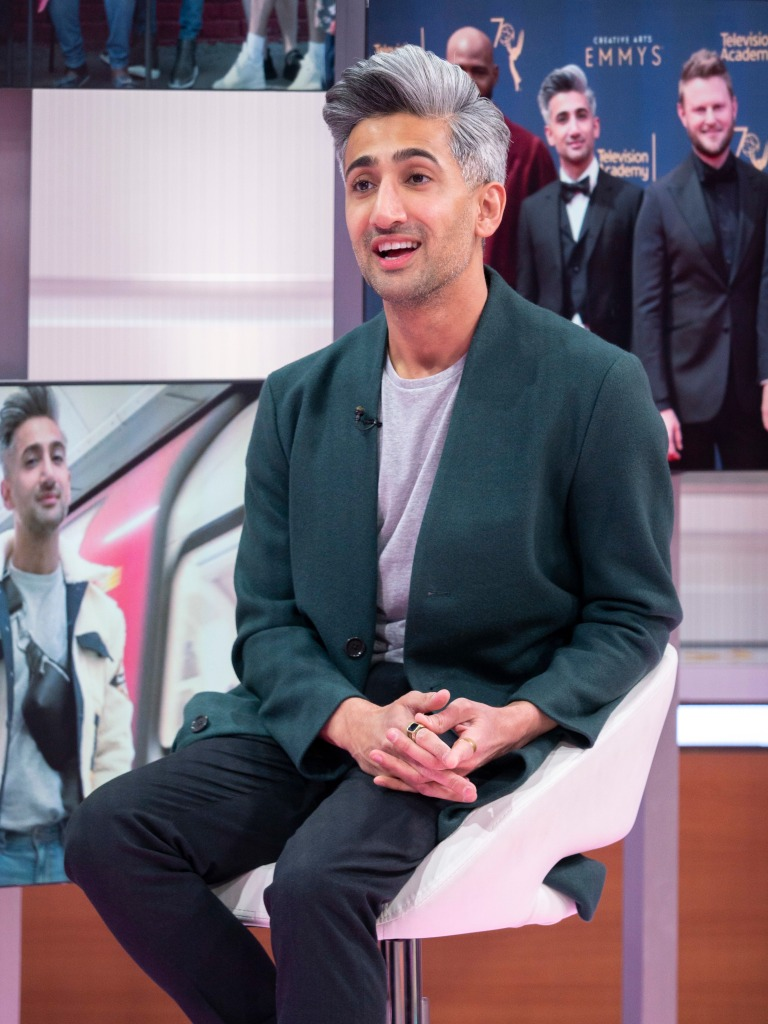 Editorial use onlyMandatory Credit: Photo by S Meddle/ITV/REX/Shutterstock (10115588be) Tan France 'Good Morning Britain' TV show, London, UK - 22 Feb 2019 TAN FRANCE - OLIVIA The global star and resident fashion expert of Netflix's hit, Queer Eye, joins us live in the studio to talk about the new season, breaking barriers (as the first openly gay muslim on Western TV) and to give Adil Ray a 'Make Better' by sharing some of his valuable styling tips on what they're wearing! Mediawall: Tan Clips: Queer Eye (old series)