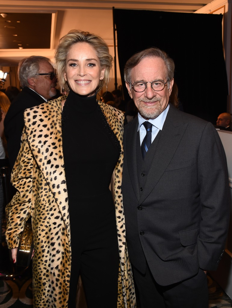 Sharon Stone and Steven SpielbergThe Women's Cancer Research Fund hosts An Unforgettable Evening, Cocktails, Beverly Wilshire Hotel, Los Angeles, USA - 28 Feb 2019