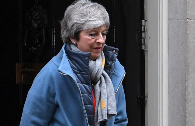 British Prime Minister Theresa May leaves 10 Downing Street following a meeting with her cabinet in London, Britain, 12 March 2019. British parliament will vote on British Prime Minister May's amended Brexit deal later in the day. Theresa May wants parliament to back her 'improved' withdrawalk agreement she has negotiated with the EU over the so-called 'backstop'. The United Kingdom is officially due to leave the European Union on 29 March 2019, two years after triggering Article 50 in consequence to a referendum.British MPs to vote on PM May's amended Brexit deal, London, United Kingdom - 12 Mar 2019