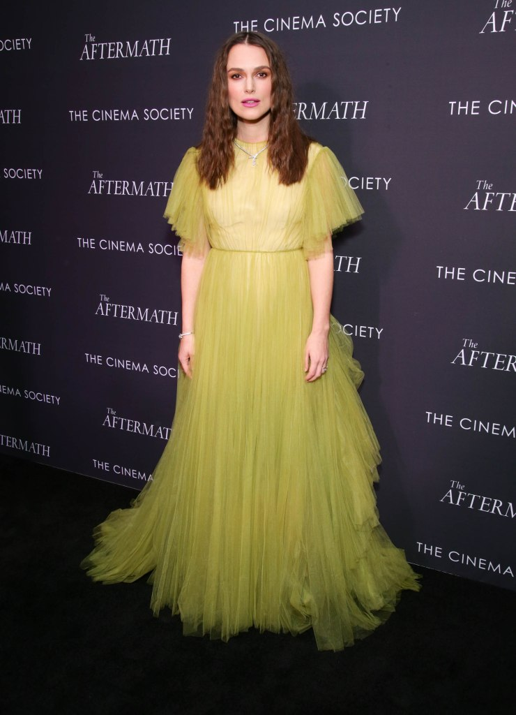 Keira Knightley'The Aftermath' film screening, Arrivals, New York, USA - 13 Mar 2019 Wearing Valentino Same Outfit as catwalk model *10128931bn