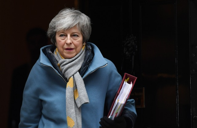 British Prime Minister Theresa May departs Downing Street for parliament after cabinet meeting in London, Britain, 13 March 2019. MPs will vote later in the parliament on whether to block the UK from leaving the EU without a deal on 29 March, after again rejecting the PM's withdrawal agreement on 12 March. The United Kingdom is officially due to leave the European Union on 29 March 2019, two years after triggering Article 50 in consequence to a referendum.Cabinet meeting in London, United Kingdom - 13 Mar 2019